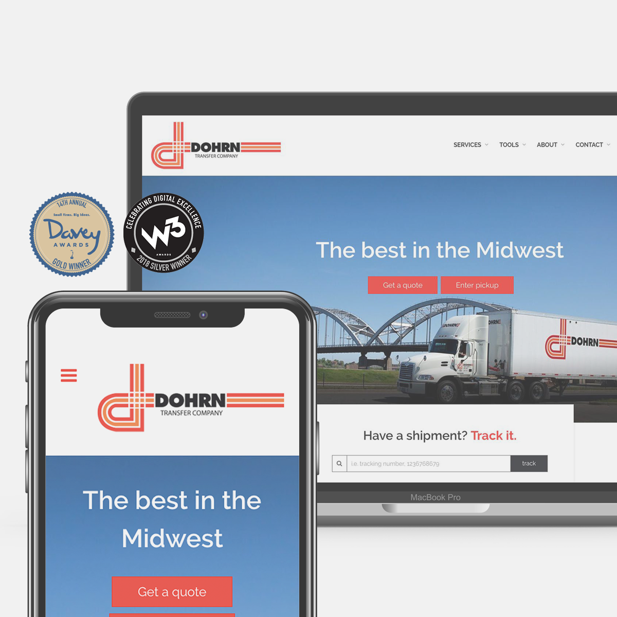 Terrostar's redesign of Dohrn Transfer's website won Gold from the Davey Awards